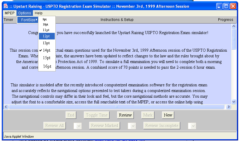 Patent Bar Simulator Screen shot